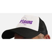 """Бейсболка с сеткой """"Fishing"""" (белый-фиолетовый)"""