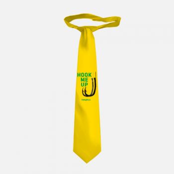 """Галстук рыбака 3D """"Зацепи меня"""" (желтый-зеленый)"""