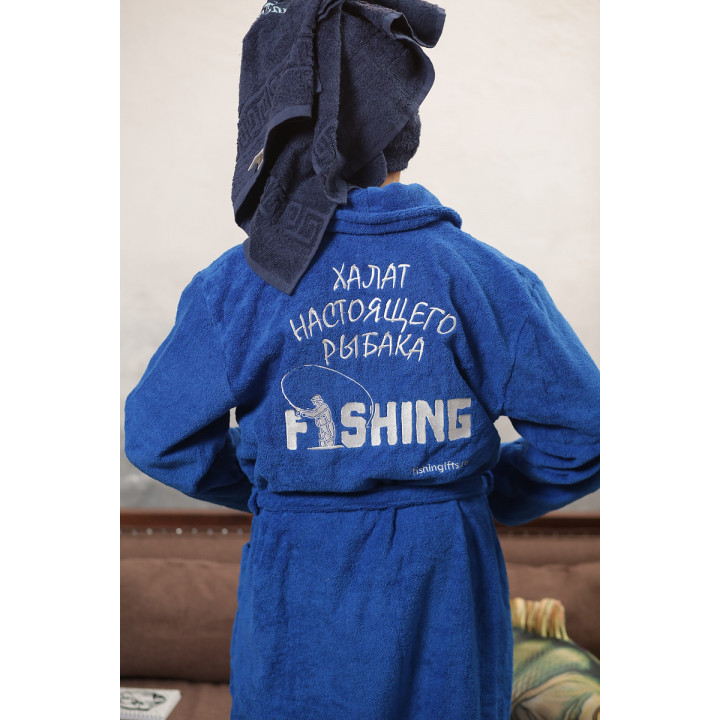 "Халат хлопковый мужской ""Fishing"" (синий)"