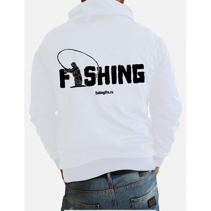 """Толстовка на молнии 3D """"Fishing"""" (белый-черный)"""