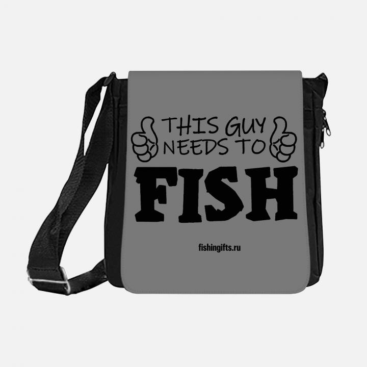"""Сумка рыбака """"Этому парню нужно порыбачить"""" 3D (серый-черный)"""